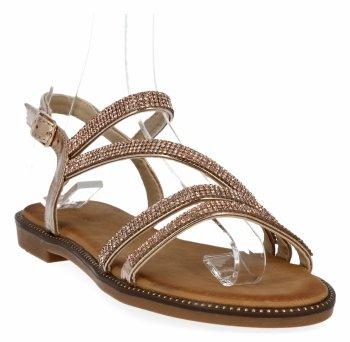 Šampaňské dámské sandály s křišťálky Bellucci