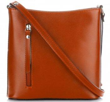 Kožená kabelka listonoška Genuine Leather Pelle zrzavá
