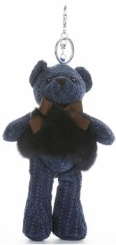 Přívěšek ke kabelce Plyšový medvídek s přírodním králíkem tmavě modrá