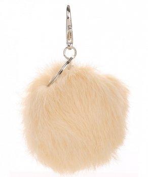 Přívěšek ke kabelce Pompon z přírodního vlasu béžový