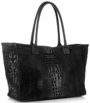 Kožená kabelka kufřík motiv aligátora Černá