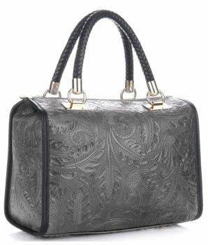 Elegantní kožený kufřík Šedá