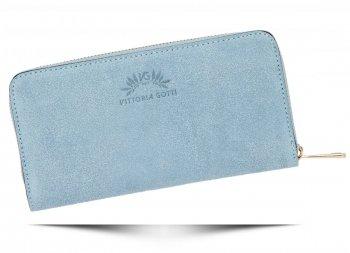 Vittoria Gotti Dámská Kožená Peněženka Made in Italy Světle Modrá