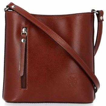 Kožená kabelka listonoška Genuine Leather Pelle Hnědá