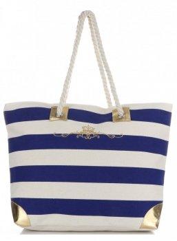 Elegantní Plážová dámská kabelka XXL Royal tmavě modrá