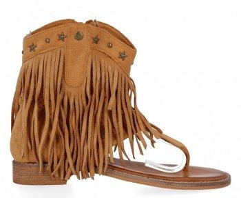 Camelové dámské sandály s třásněmi Givana