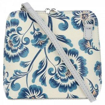Vittoria Gotti Kožená Kabelka Listonoška Made in Italy květiny Modrá