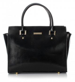 Módní kožená kabelka kufřík černá