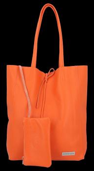 Kožené kabelky VITTORIA GOTTI Shopper bag Oranžová