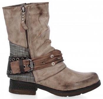 Khaki dámské kotníkové boty s přezkou Silvia