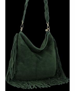 Univerzální Kožené Dámské Kabelky Boho Style Vittoria Gotti Lahvově Zelená
