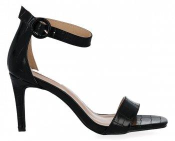 Černé dámské sandály na podpatku se zvířecím motivem Bellucci