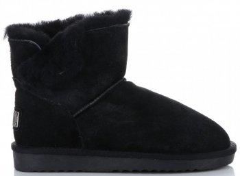 Kožené Dámské boty sněhule králík Černé
