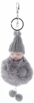 Přívěšek ke kabelce Slippy Baby s kožešinkou šedý