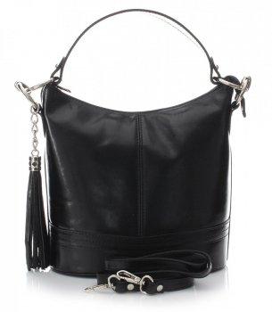 Klasická kabelka z kůže do ruky s dlouhým páskem černá