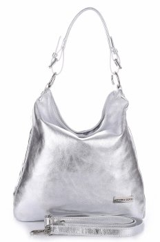 VITTORIA GOTTI Made in Italy Eegantní Kožená kabelka stříbrná