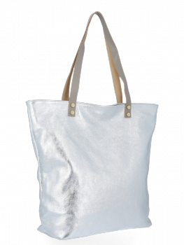 Módní Kožené Dámské Kabelky Shopper Bag Vittoria Gotti Stříbrná