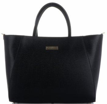 Exkluzivní kožená italská kabelka XXL Vittoria Gotti černá