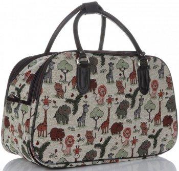 Velká cestovní taška kufřík Or&Mi Zoo Multicolor - béžová