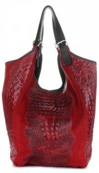 Velká dámská kožená taška italské výroby Aligator bordová