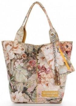 Vittoria Gotti Módní Kožená Kabelka Shopperbag XL květinový vzor Žlutá