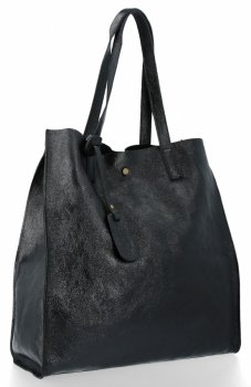 Kožená kabelka Shopper Bags kosmetickou kapsičkou Černá