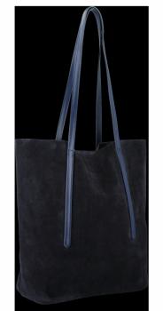 Kožené Dámské Kabelky Shopper Vittoria Gotti Tmavě modrá