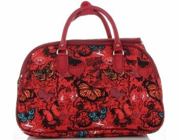 Průměrná cestovní taška kufřík Or&Mi vzor v motýlech Multicolor - Červená
