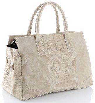 Kožená kabelka kufřík Aligátor béžová