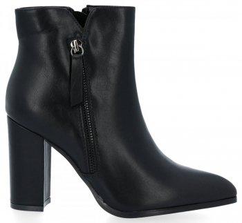 Černé klasické kotníkové boty na podpatku Chloé