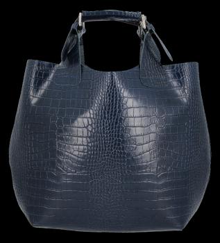 Kožená Kabelka Vittoria Gotti Exkluzivní Shopper s motivem aligátora Tmavě modrá