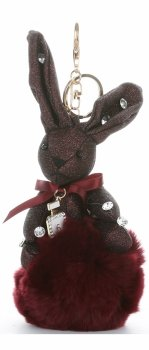 Přívěšek ke kabelce Brokátový králík s pomponem vínový