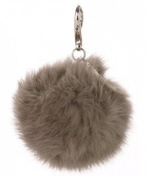 Přívěšek ke kabelce Pompon z přírodního vlasu šedý