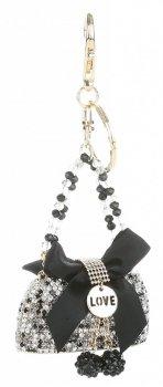 Přívěšek ke kabelce  Elegantní kabelka s mašličkou a zirkony černá