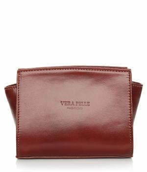 Módní kožená kabelka listonoška Vera Pelle hnědá