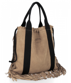 Vittoria Gotti Italské Kožené Dámské Kabelky Shopper Bag Boho Style Zemitá