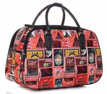 STŘEDNÍ cestovní taška kufřík Or&Mi Poštovní známky Multicolor - červená