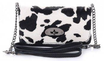Elegantní malý Kožené kabelky listonošky Made in Italy černobílý