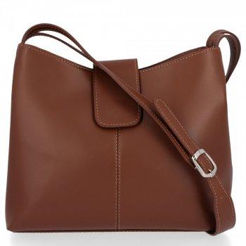 Kožené kabelky 2 přihrádky Hnědá