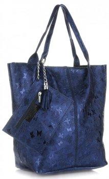 Kožené kabelky Shopper bag Lakované Tmavě modrá