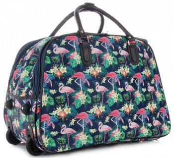 Cestovní taška na kolečkách s výsuvnou rukojetí plameňáci Or&Mi multicolor Tmavě modrá