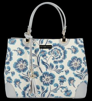 Vittoria Gotti Dámská Kabelka Kožená Kufřík květinový vzor Malovaná Multicolor Modrá