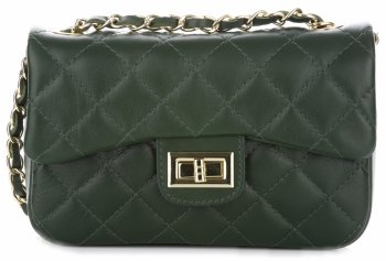 kožená kabelka listonoška Genuine Leather Tmavě Zelená
