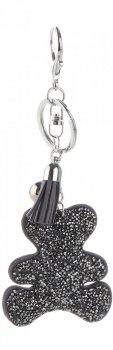Přívěšek ke kabelce Módní medvídek s krystalky tmavě šedý