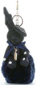 Přívěšek ke kabelce Brokátový králík s pomponem tmavě modrý