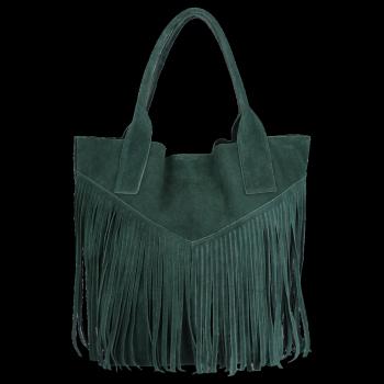 Kožené Dámské Kabelky Shopper Boho Style Vittoria Gotti Lahvově Zelená