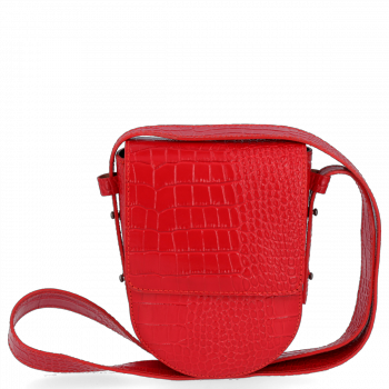 Kožená Kabelka listonoška Vittoria Gotti s motivem aligátora Červená