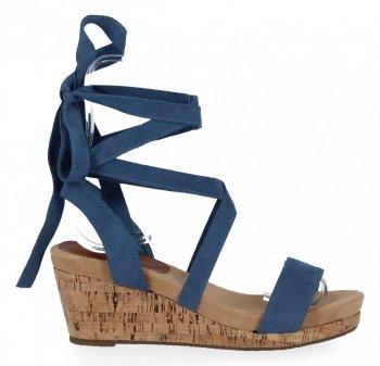 Lady Glory Modré dámské klínové sandály