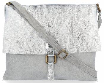 Módní kožená kabelka listonošky Světle šedá se stříbrem