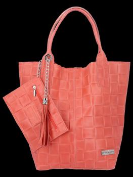 Módní Kožené Dámské Kabelky Shopper Bag XL Vittoria Gotti Korálová